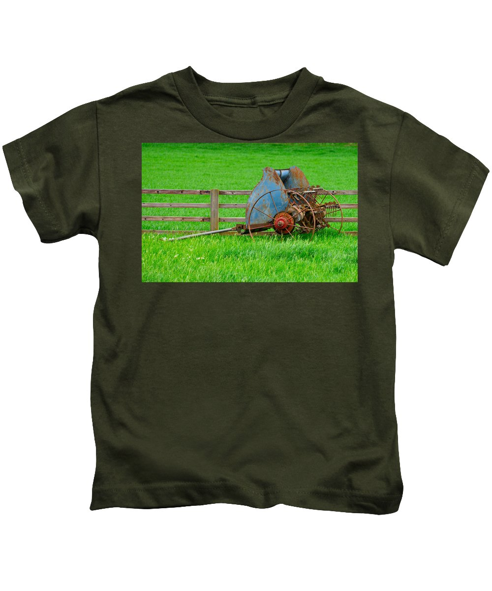 Grass Kids T-Shirt featuring the photograph Old Farm Equipment by Robert Barnes