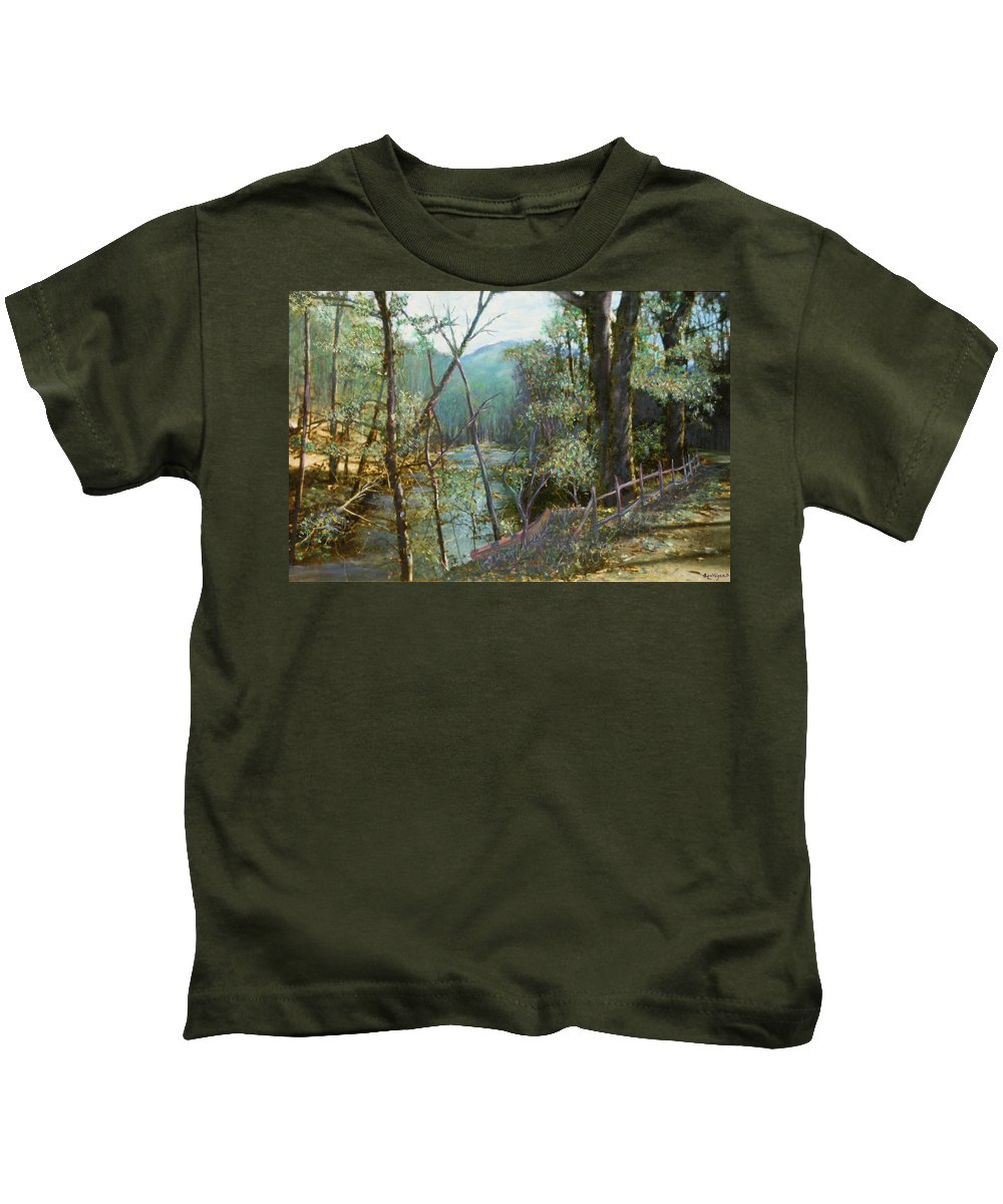 River; Trees; Landscape Kids T-Shirt featuring the painting Old Man River by Ben Kiger