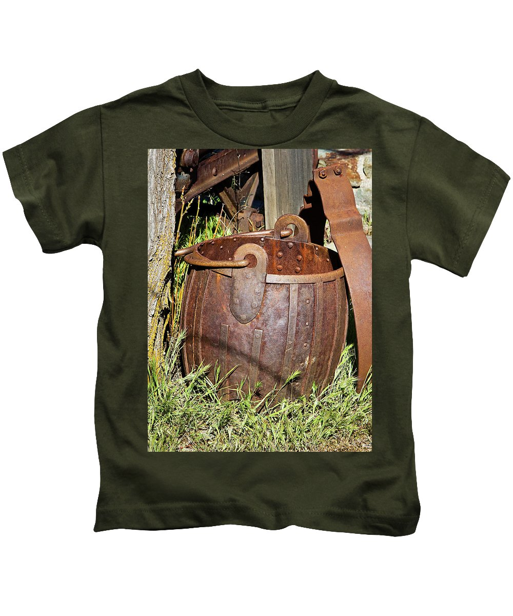 Bucket Kids T-Shirt featuring the photograph Old Ore Bucket by Phyllis Denton