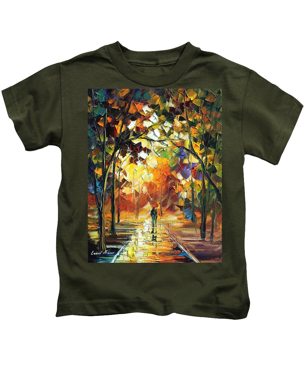 Afremov Kids T-Shirt featuring the painting Old Park by Leonid Afremov
