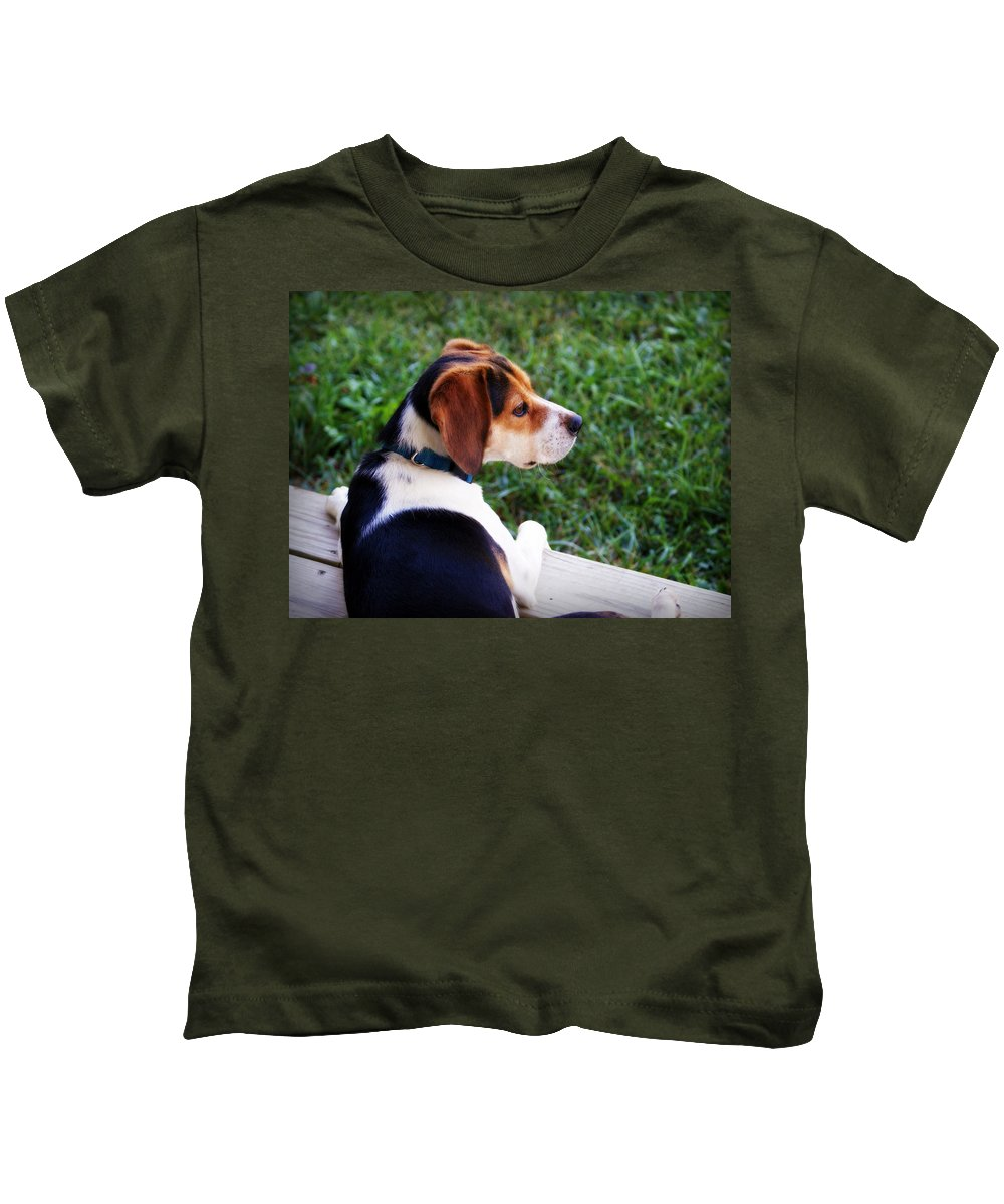Dog Kids T-Shirt featuring the photograph On High Alert by Cricket Hackmann