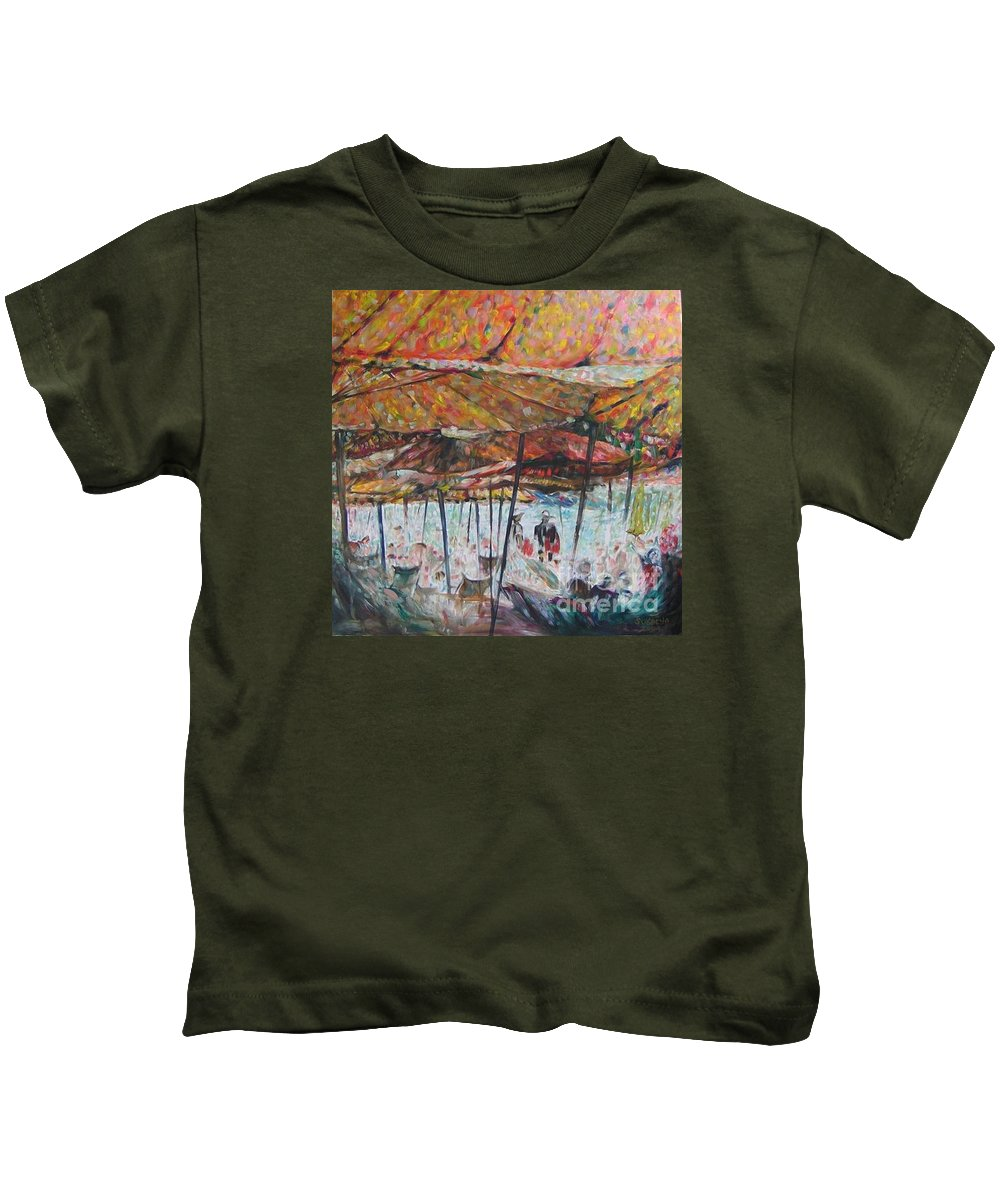 On The Beach Kids T-Shirt featuring the painting On The Beach 1 by Sukalya Chearanantana