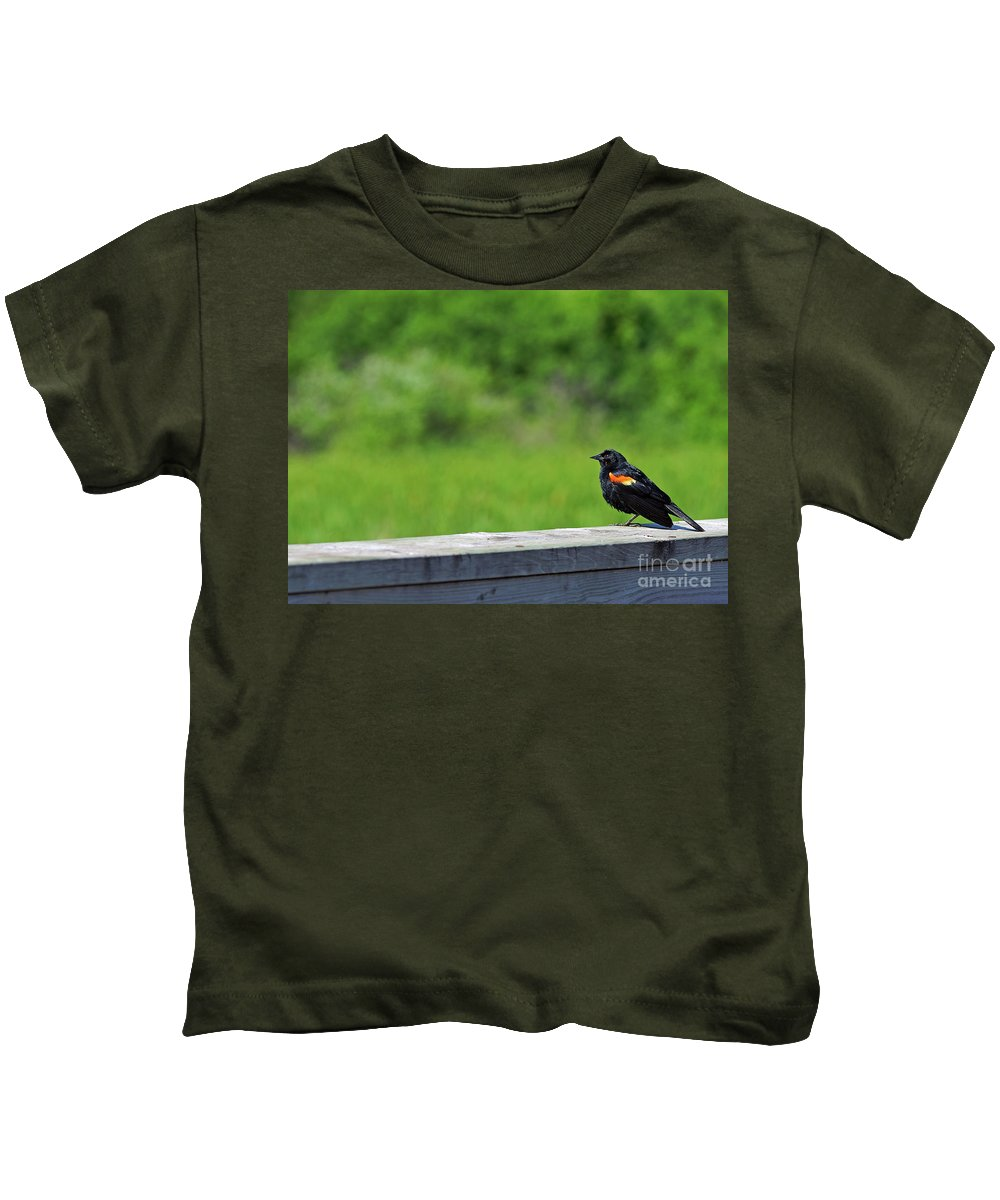 Red Kids T-Shirt featuring the photograph On The Fence by Robin Clifton