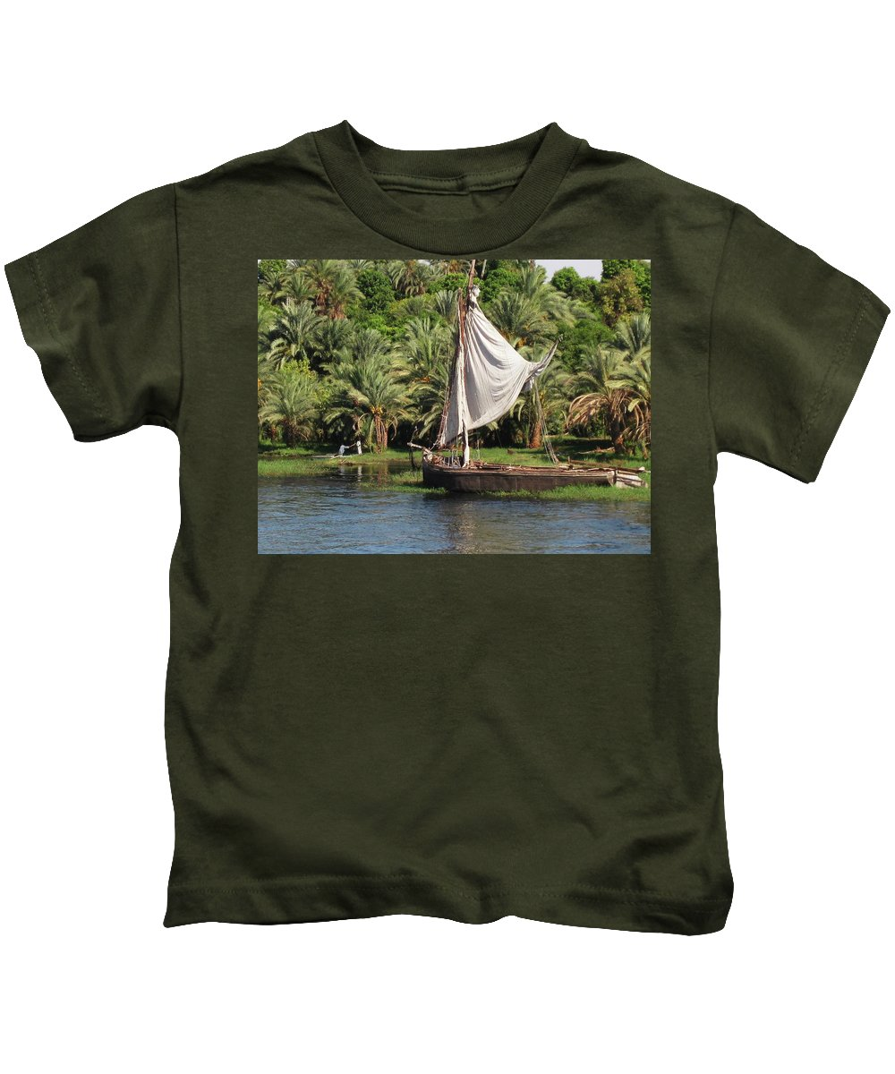 Egypt Kids T-Shirt featuring the photograph On The Nile by John Malone
