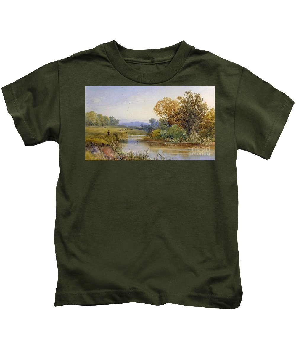 James Burrell Smith - On The River Parret Kids T-Shirt featuring the painting On The River Parret by MotionAge Designs