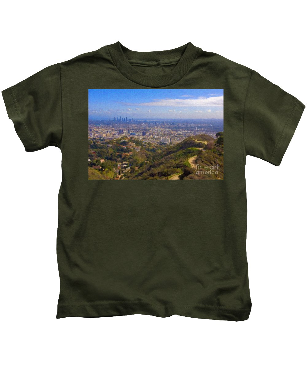 Los Angeles Kids T-Shirt featuring the photograph On The Road To Oz La Skyline Runyon Canyon Hiking Trail by David Zanzinger