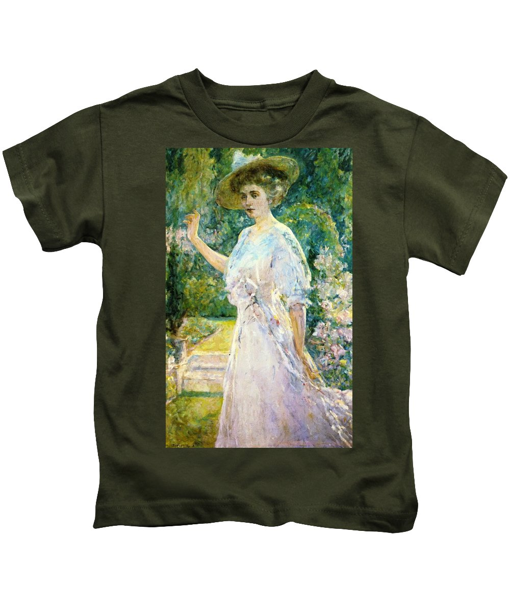 On Kids T-Shirt featuring the painting On The Terrace by Reid Robert Lewis
