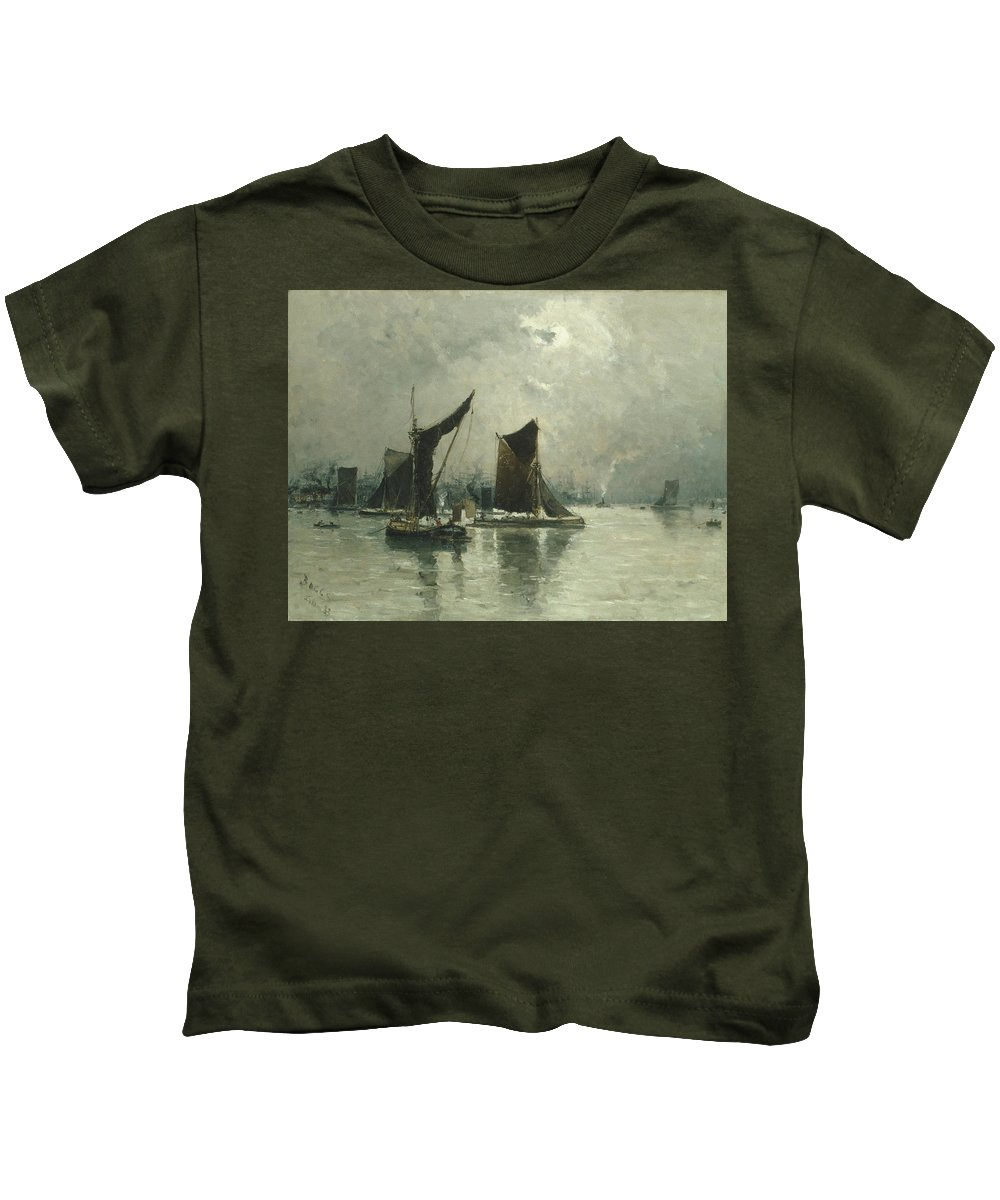On The Thames Kids T-Shirt featuring the painting On The Thames by MotionAge Designs