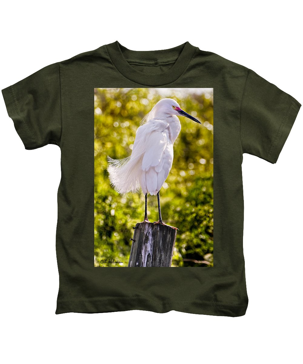 snowy Egret Kids T-Shirt featuring the photograph On Watch by Christopher Holmes