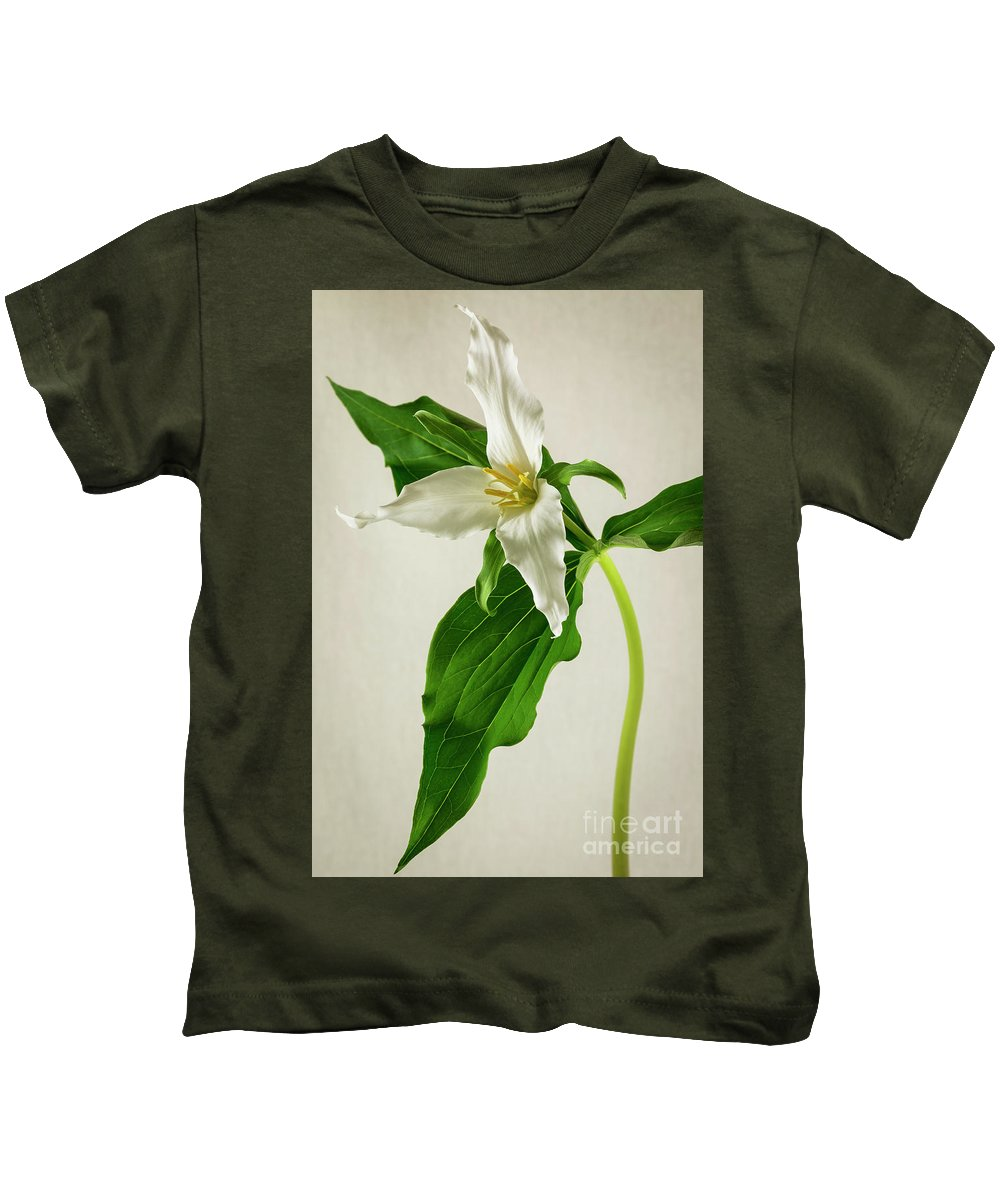 Spring Kids T-Shirt featuring the photograph One Trillium by Masako Metz