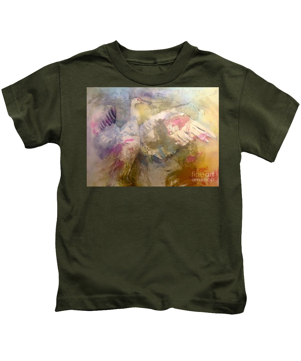 Crane Kids T-Shirt featuring the painting Opening by Diane Splinter