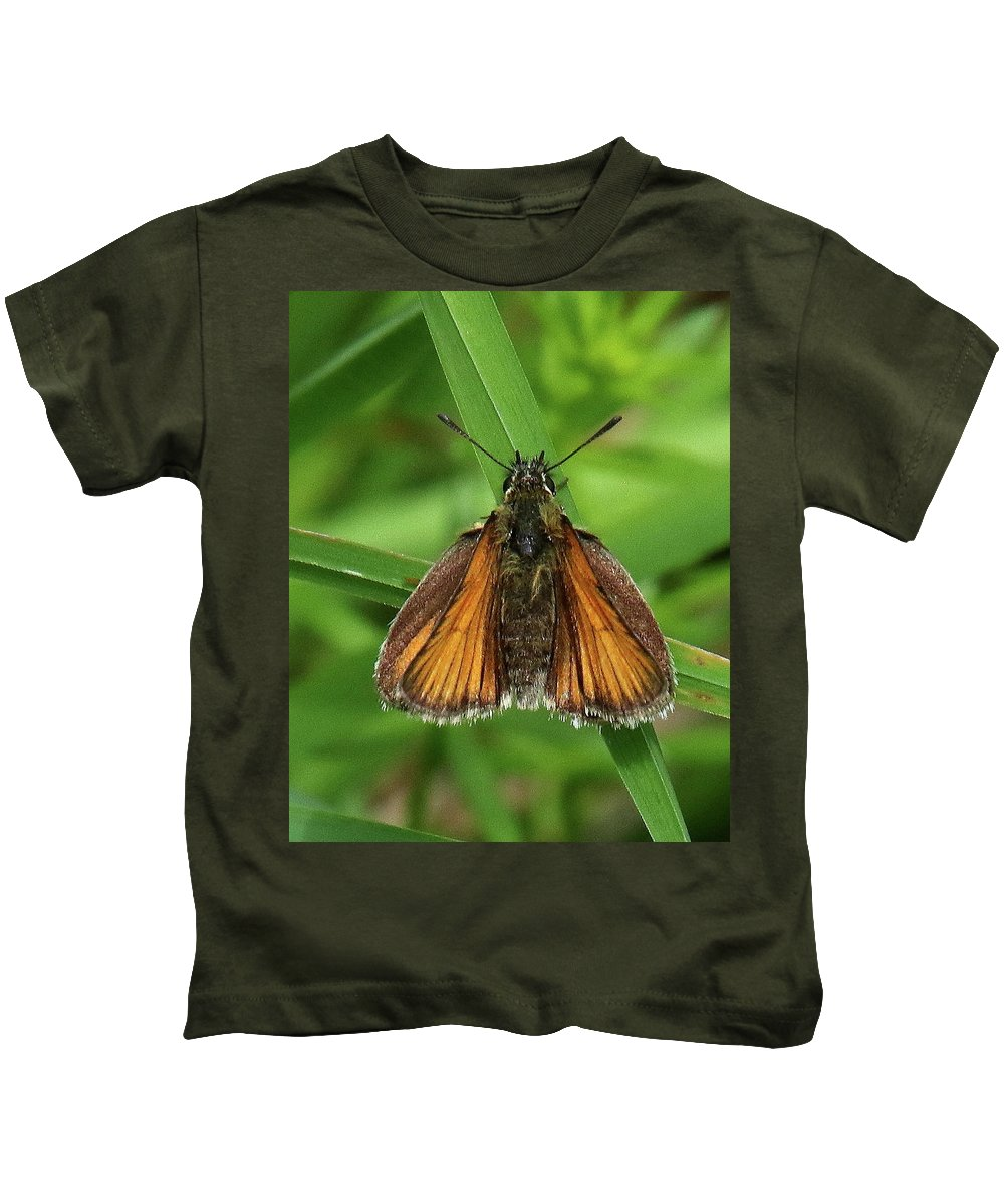 Moth Kids T-Shirt featuring the photograph Orange And Brown Moth by Arvin Miner