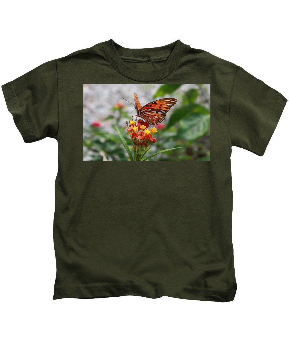 Butterfly Kids T-Shirt featuring the photograph Orange Beauty by Judith Morris