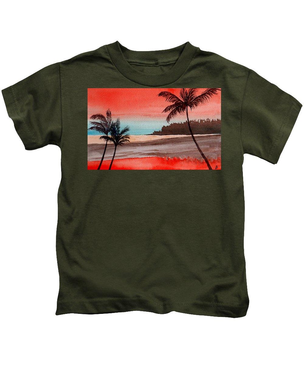 Watercolor Kids T-Shirt featuring the painting Orange Sky Of Kauai by Brenda Owen