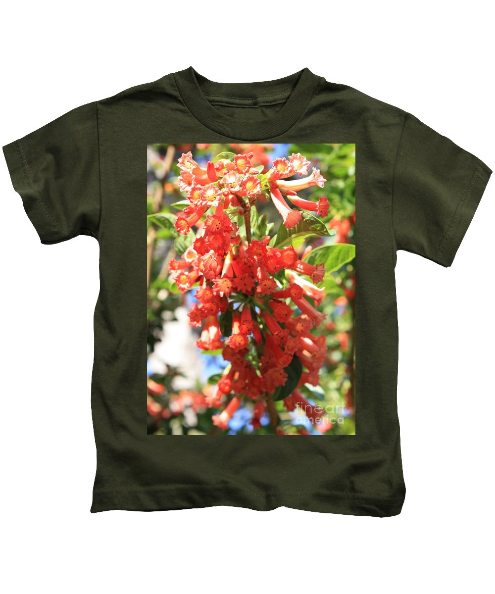 Orange Trumpet Flower Kids T-Shirt featuring the photograph Orange Trumpet Flower by Carol Groenen