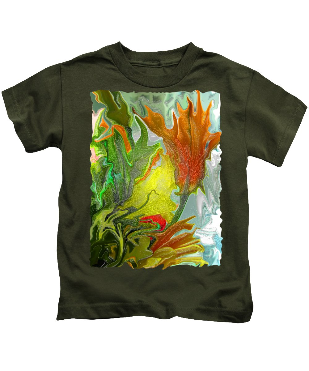 Abstract Kids T-Shirt featuring the photograph Orange Tulip by Kathy Moll