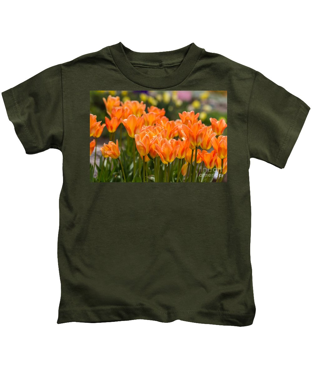 Colorado Kids T-Shirt featuring the photograph Orange Tulips by Ashley M Conger