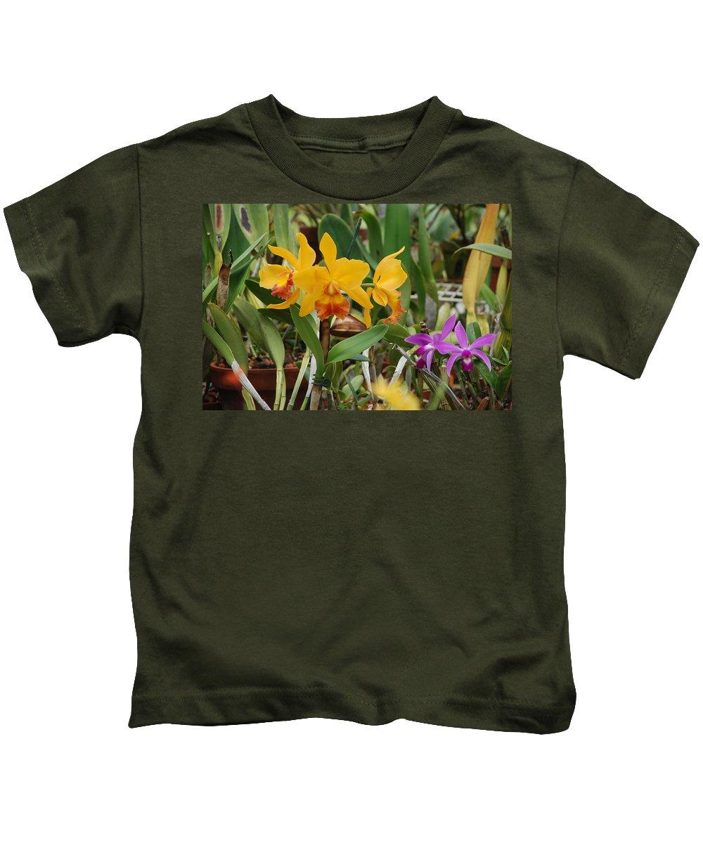 Orange Kids T-Shirt featuring the photograph Orangepurple Orchids by Rob Hans