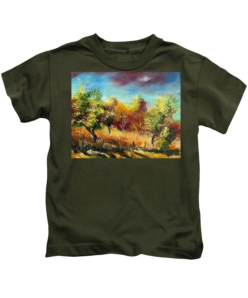 Flowers Kids T-Shirt featuring the painting Orchard by Pol Ledent