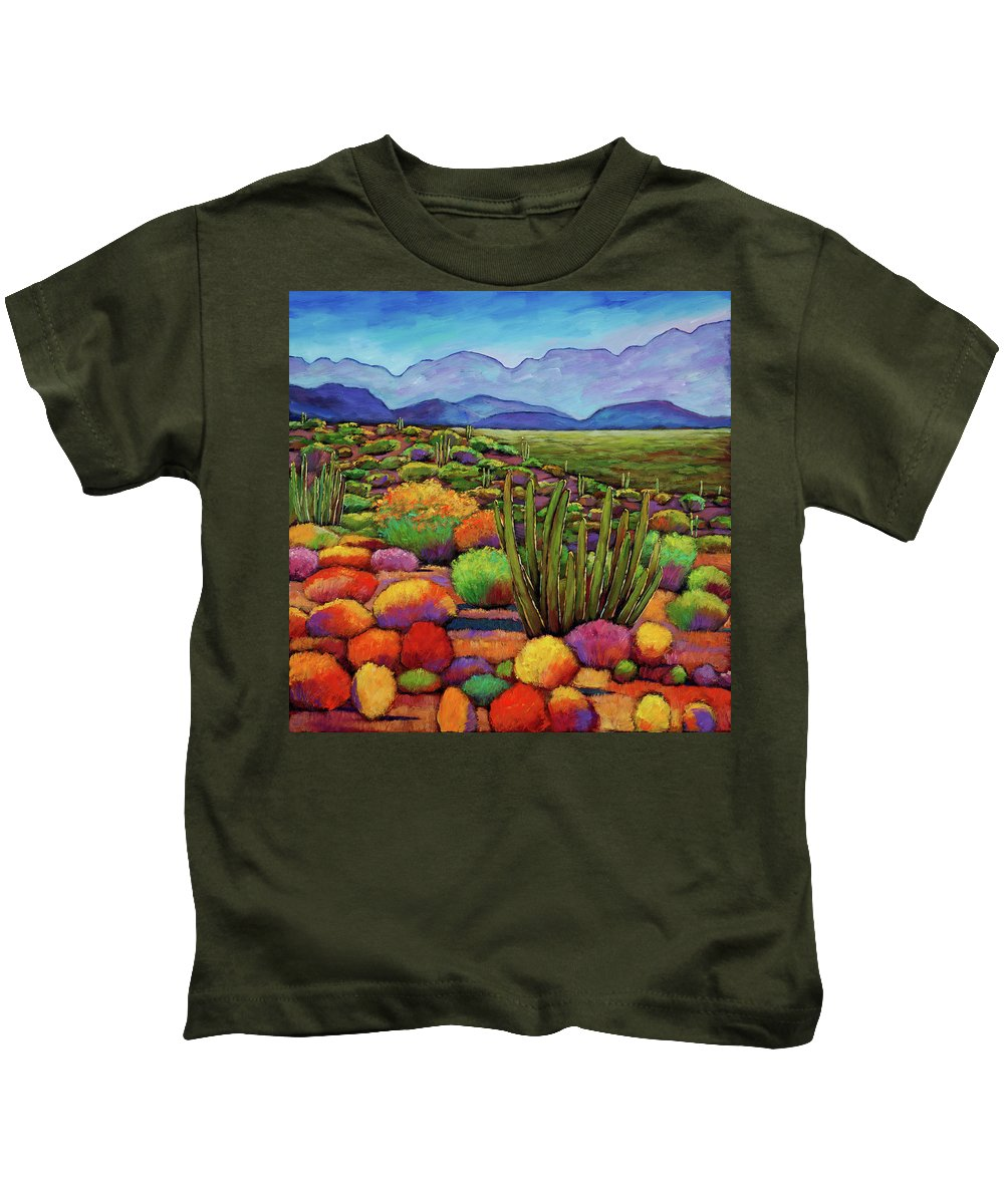 Desert Landscape Kids T-Shirt featuring the painting Organ Pipe by Johnathan Harris
