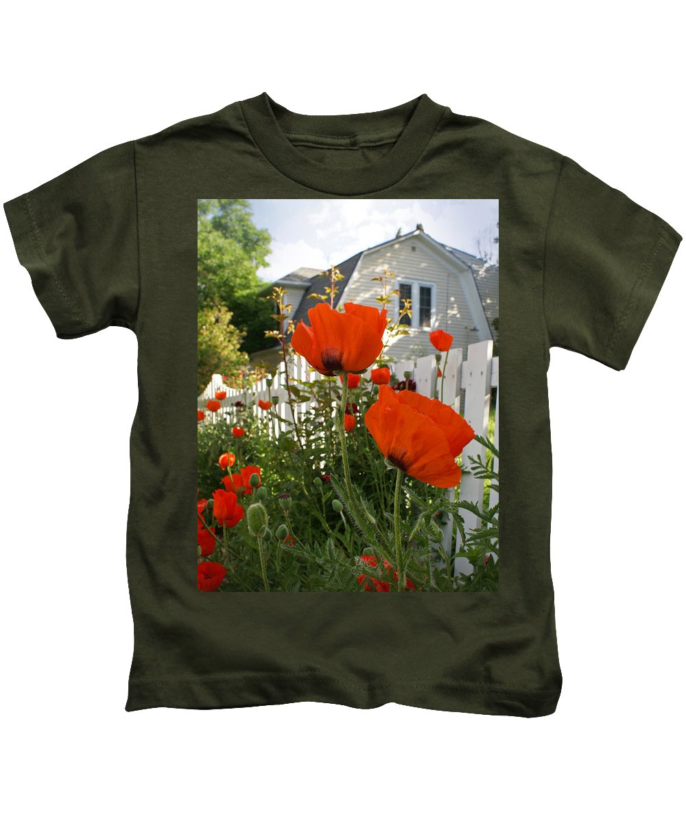 Poppies Kids T-Shirt featuring the photograph Oriental Poppies by Heather Coen
