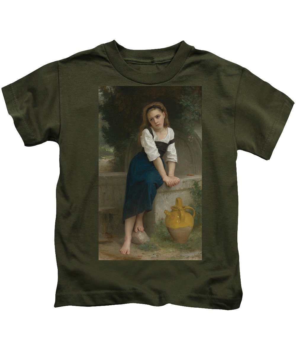 William-adolphe Bouguereau Kids T-Shirt featuring the painting Orphan At The Fountain by William-Adolphe Bouguereau