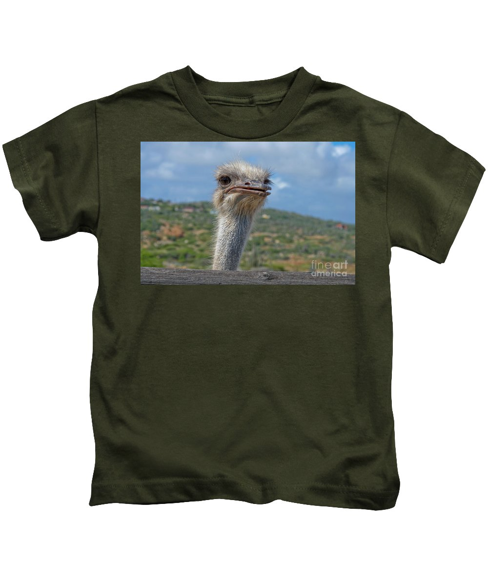 Ostrich Kids T-Shirt featuring the photograph Ostrich Head by Thomas Marchessault