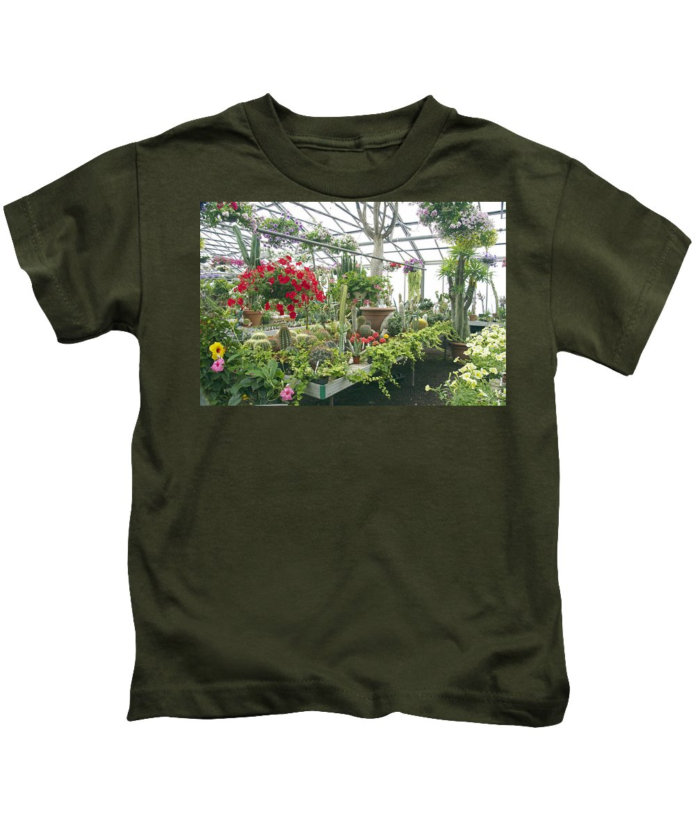 Ott's Kids T-Shirt featuring the photograph Ott's Greenhouse Schwenksville Pennsylvania Usa by Mother Nature
