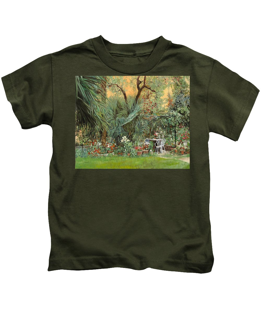 Garden Kids T-Shirt featuring the painting Our Little Garden by Guido Borelli