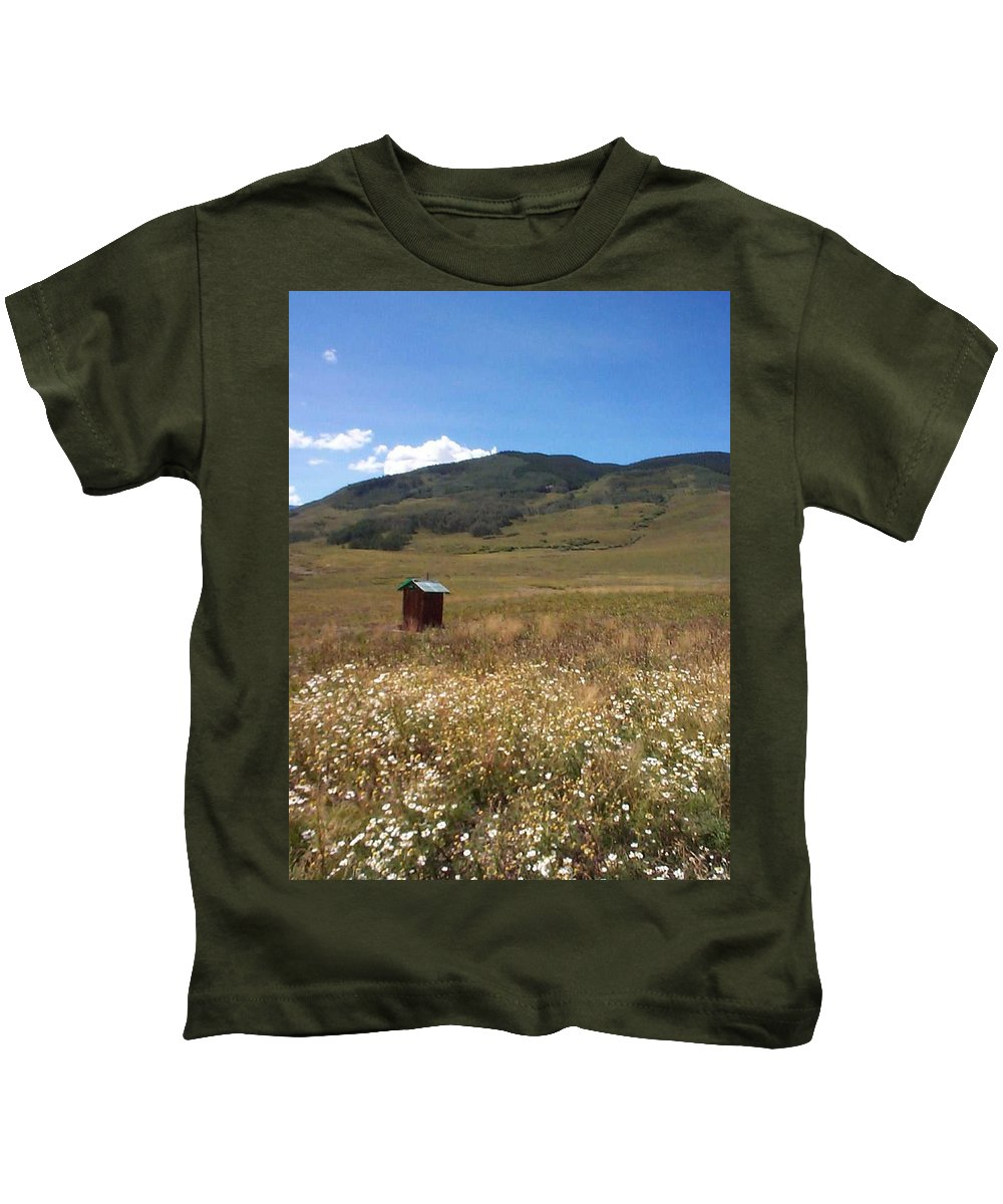 Charity Kids T-Shirt featuring the photograph Out House by Mary-Lee Sanders