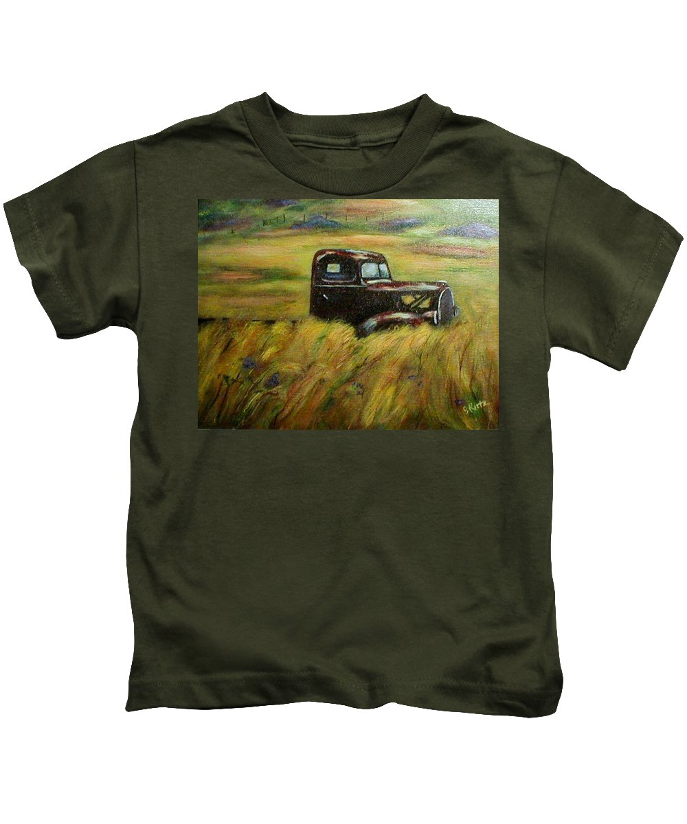 Vintage Truck Kids T-Shirt featuring the painting Out To Pasture by Gail Kirtz