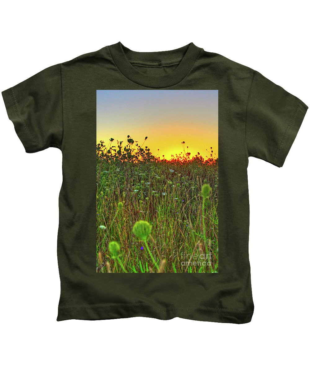 Sunrise Kids T-Shirt featuring the photograph Over The Hill Top by Robert Pearson