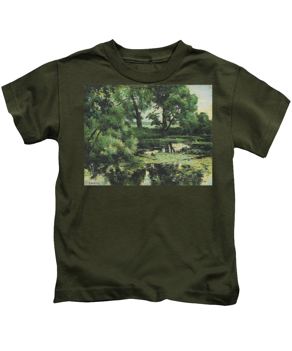 Isaak Ilich Levitan 1860 - 1900 Overgrown Pond Kids T-Shirt featuring the painting Overgrown Pond by MotionAge Designs