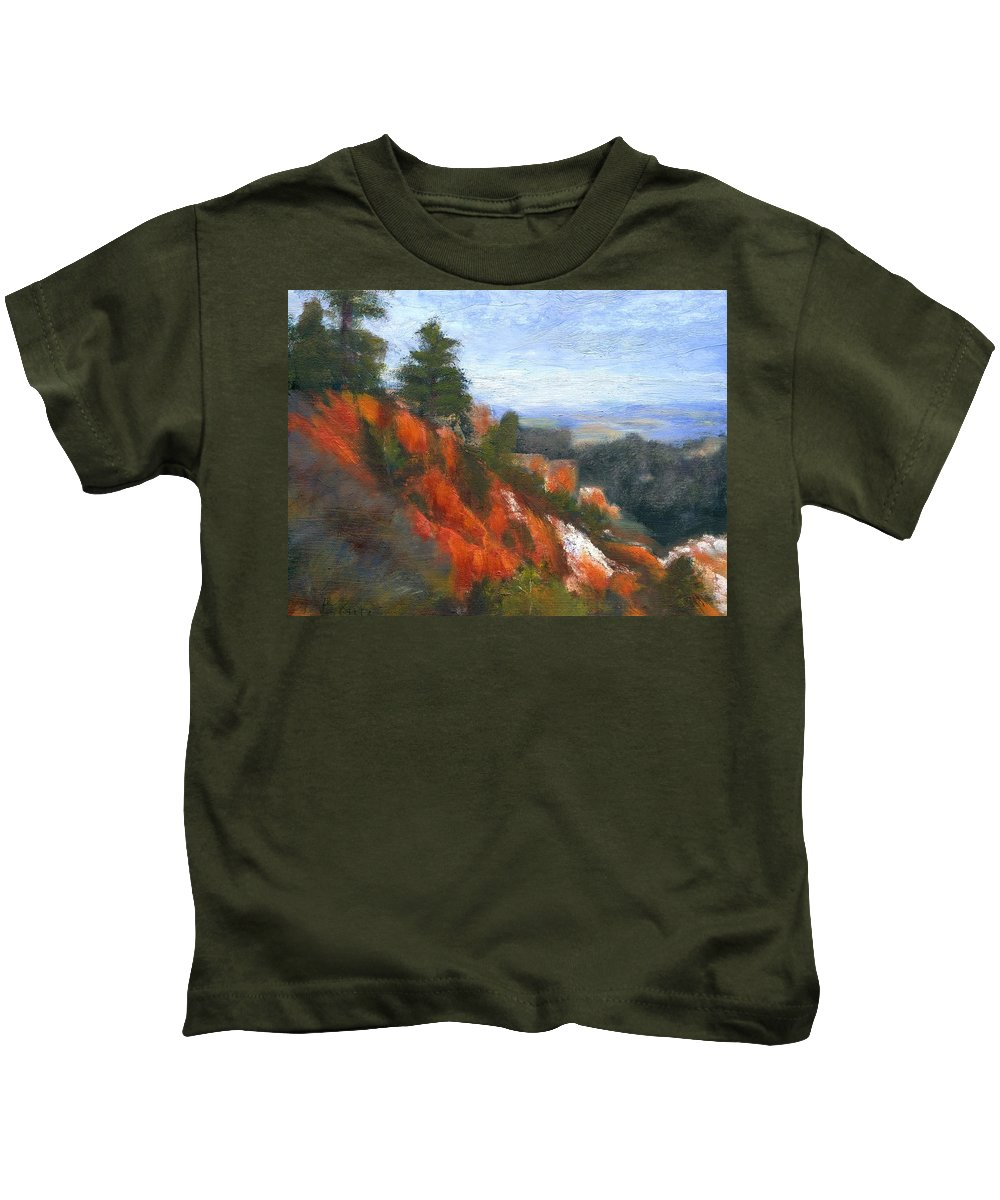 Southwest Kids T-Shirt featuring the painting Overlook by Gail Kirtz