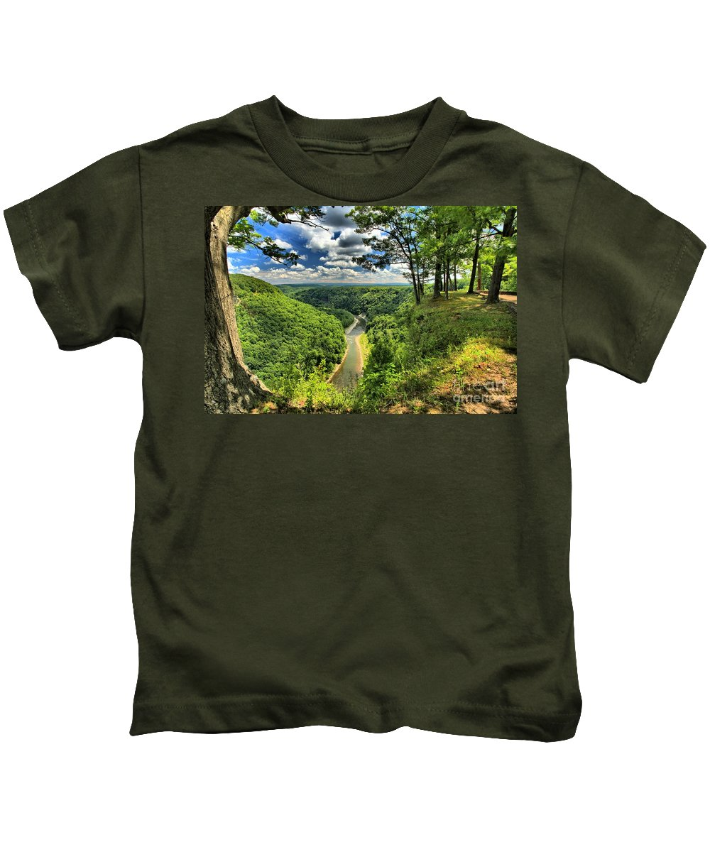 Letchworth State Park Kids T-Shirt featuring the photograph Overlooking The Genesee by Adam Jewell
