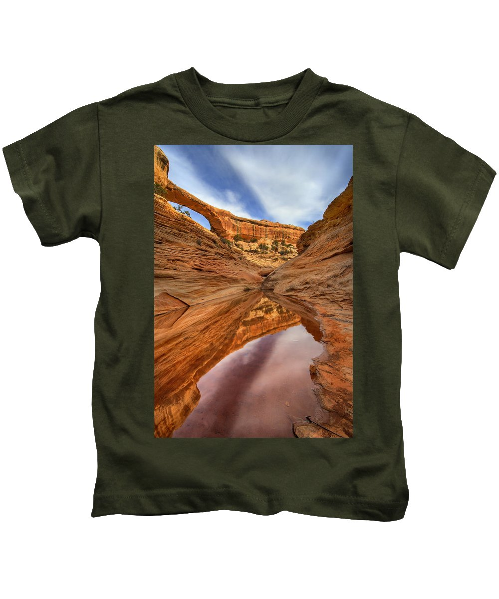 Bridge Kids T-Shirt featuring the photograph Owachomo Reflected by Mike Dawson
