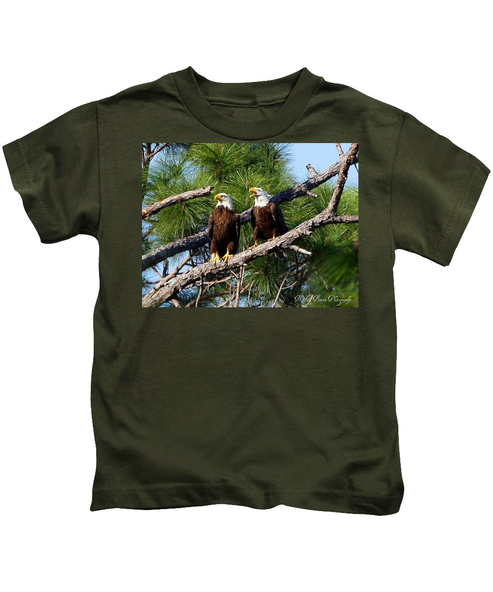 American Bald Eagle Kids T-Shirt featuring the photograph Pair Of American Bald Eagle by Barbara Bowen