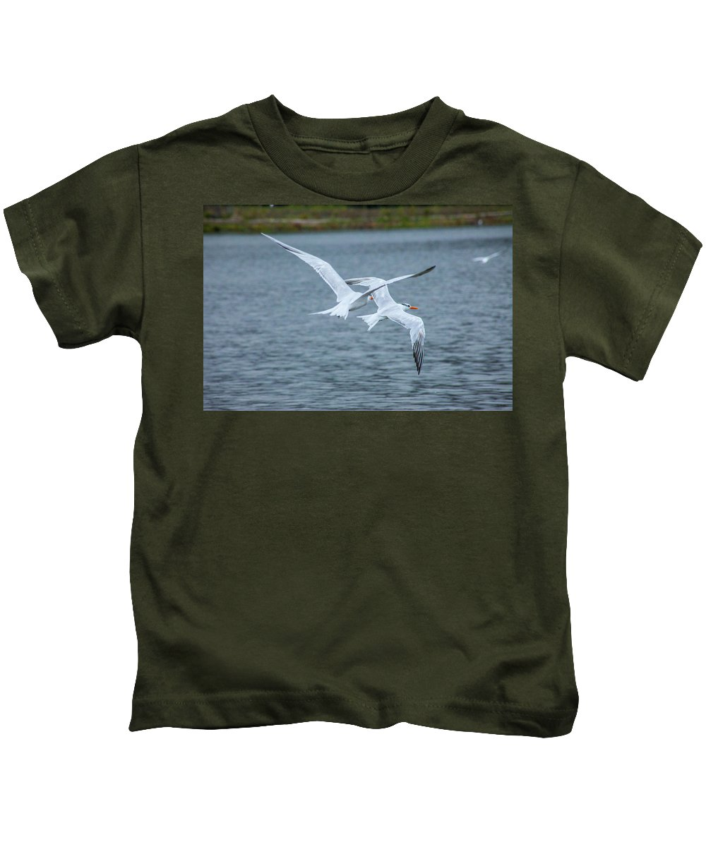 Tens Kids T-Shirt featuring the photograph Pair Of Terns by Craig Colbert