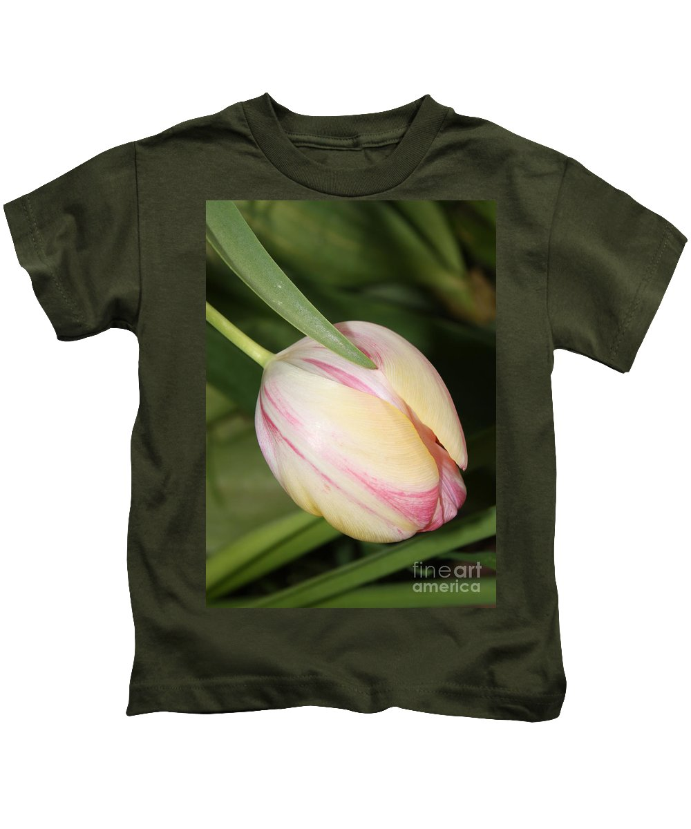 Tulip Kids T-Shirt featuring the photograph Pale Yellow And Pink Tulip by Carol Groenen