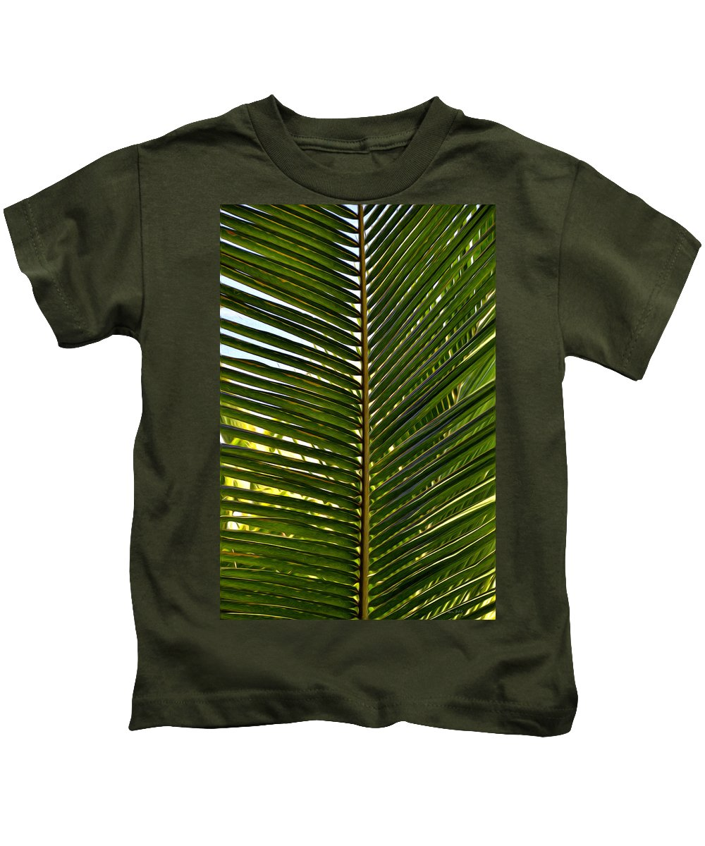 Palm Kids T-Shirt featuring the painting Palm Leaves by Tom Bell
