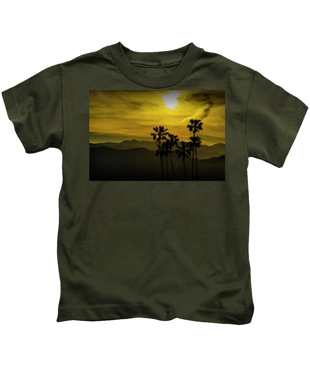 Tree Kids T-Shirt featuring the photograph Palm Trees At Sunset With Mountains In California by Randall Nyhof