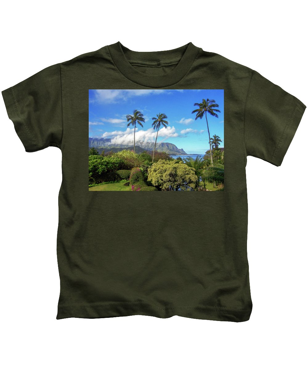Landscape Kids T-Shirt featuring the photograph Palms At Hanalei by James Eddy