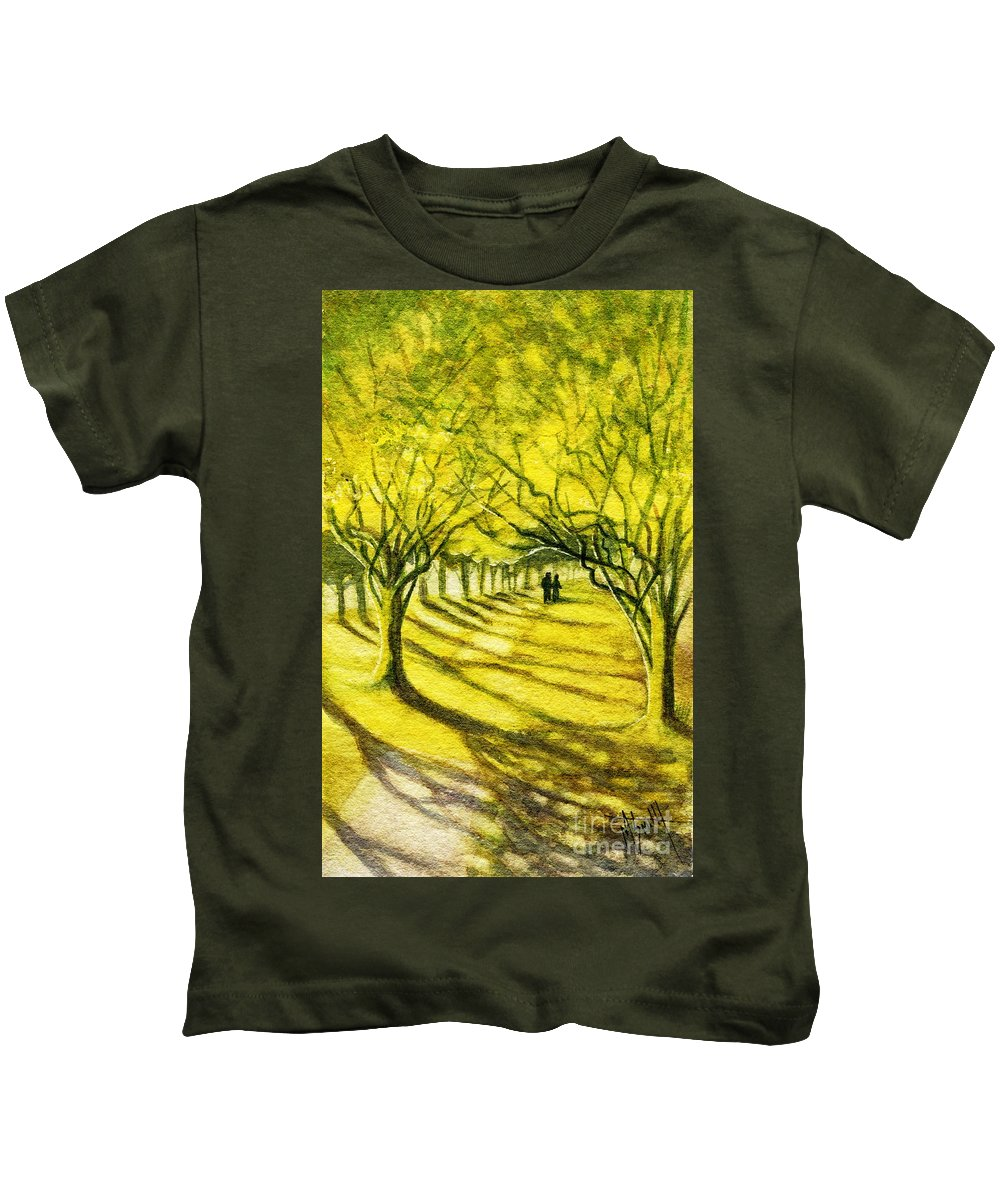 Palo Verde Trees Kids T-Shirt featuring the painting Palo Verde Pathway by Marilyn Smith