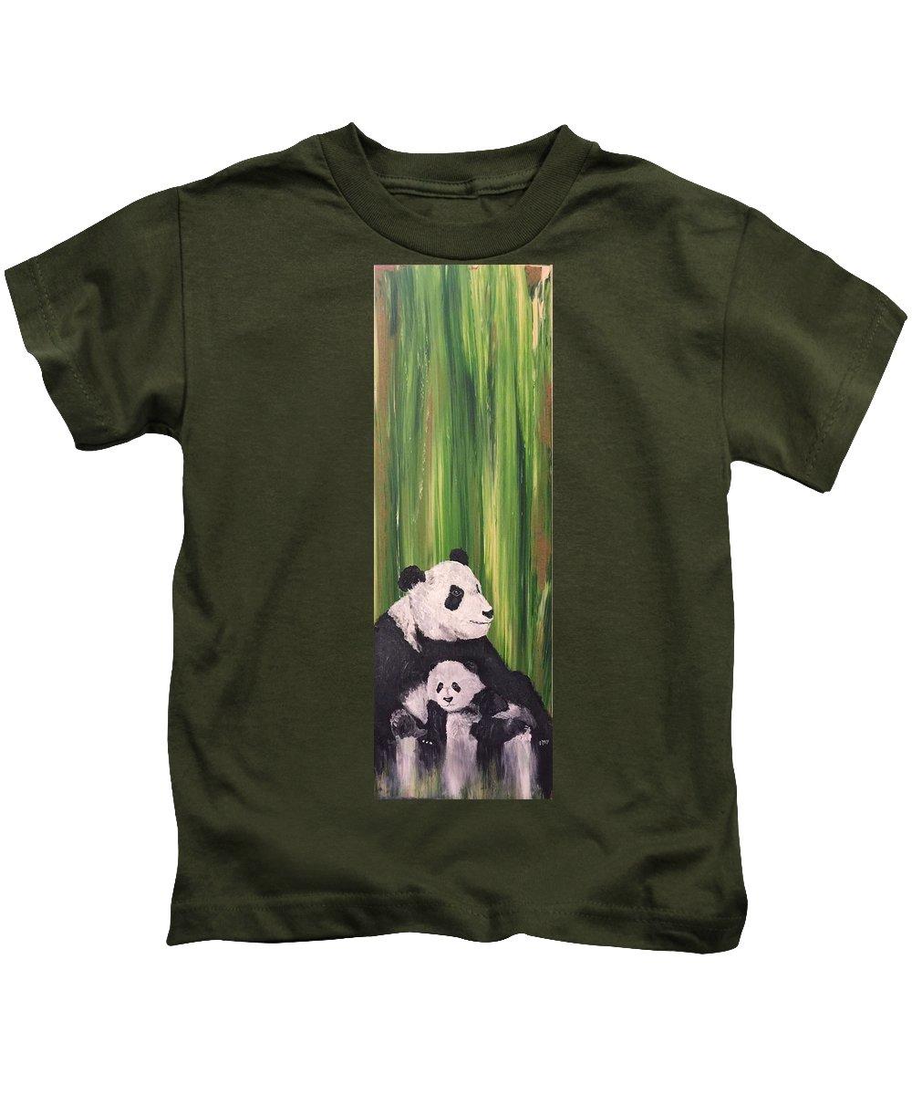 Panda Kids T-Shirt featuring the mixed media Pandas Fading by Corella Fairchild