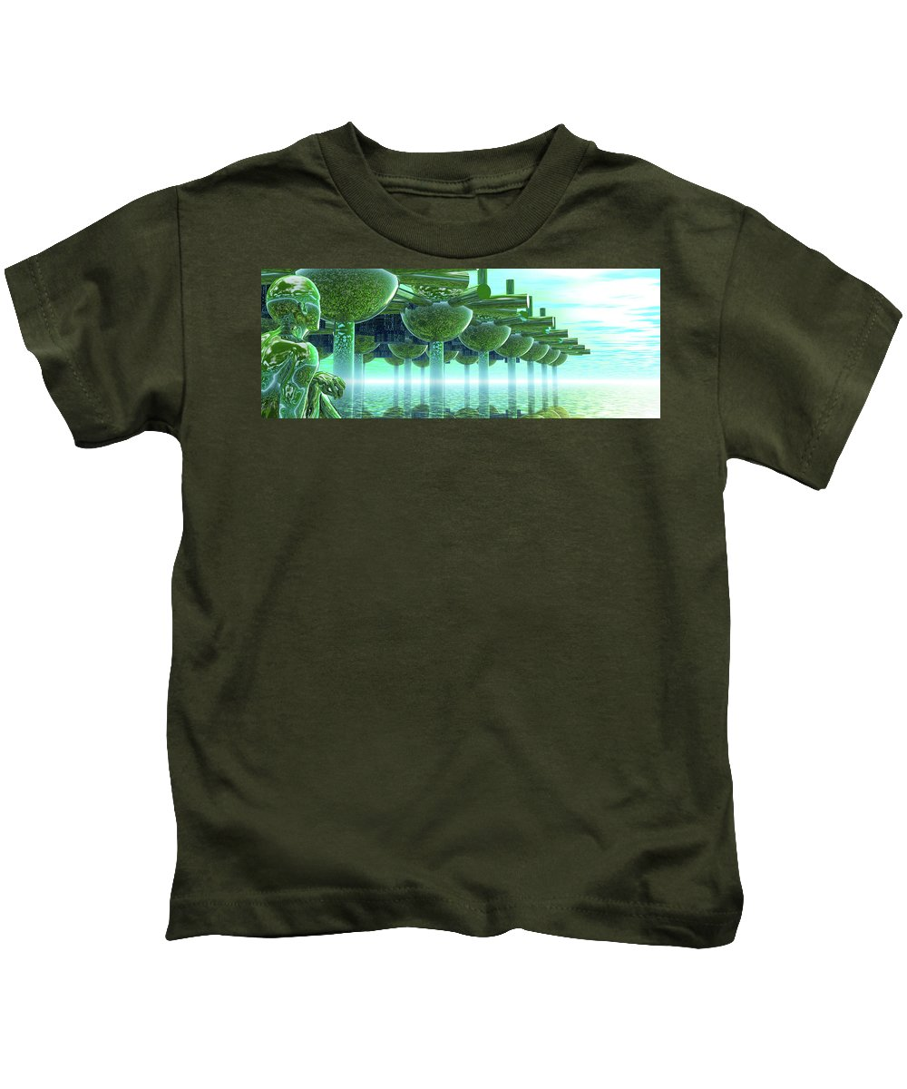 Green Kids T-Shirt featuring the digital art Panoramic Green City And Alien Or Future Human by Nicholas Burningham