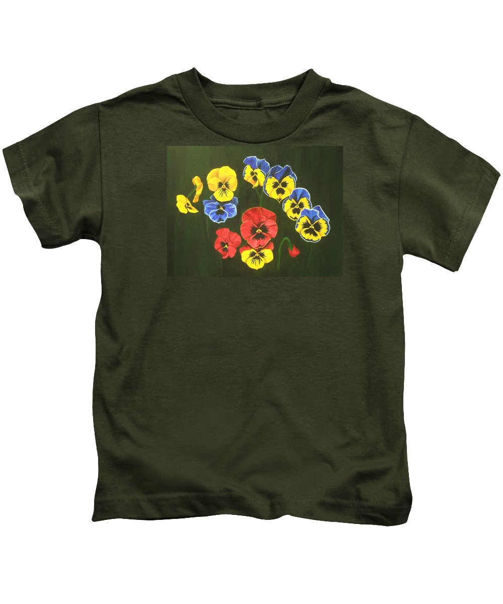 Pansy Flowers Kids T-Shirt featuring the painting Pansy Lions Too by Brandy House