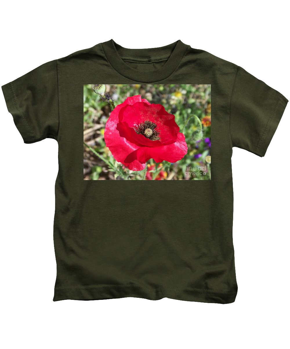 Red Kids T-Shirt featuring the photograph Paper Flower by Kathy McClure
