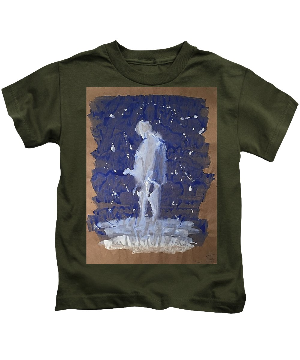 Figures Kids T-Shirt featuring the painting Paper Shadows 14 by Mario MJ Perron
