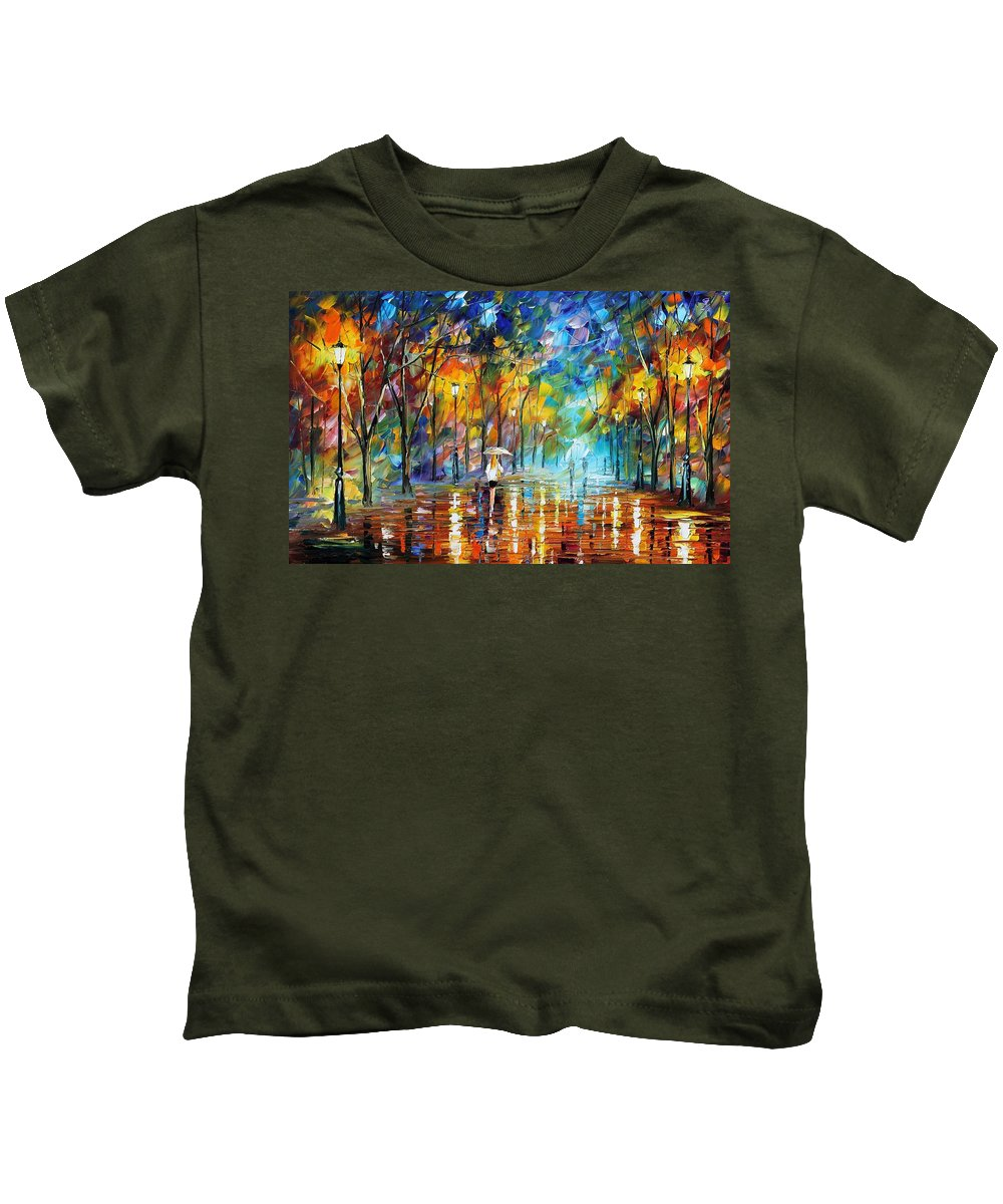 Afremov Kids T-Shirt featuring the painting Park Of Pleasure by Leonid Afremov
