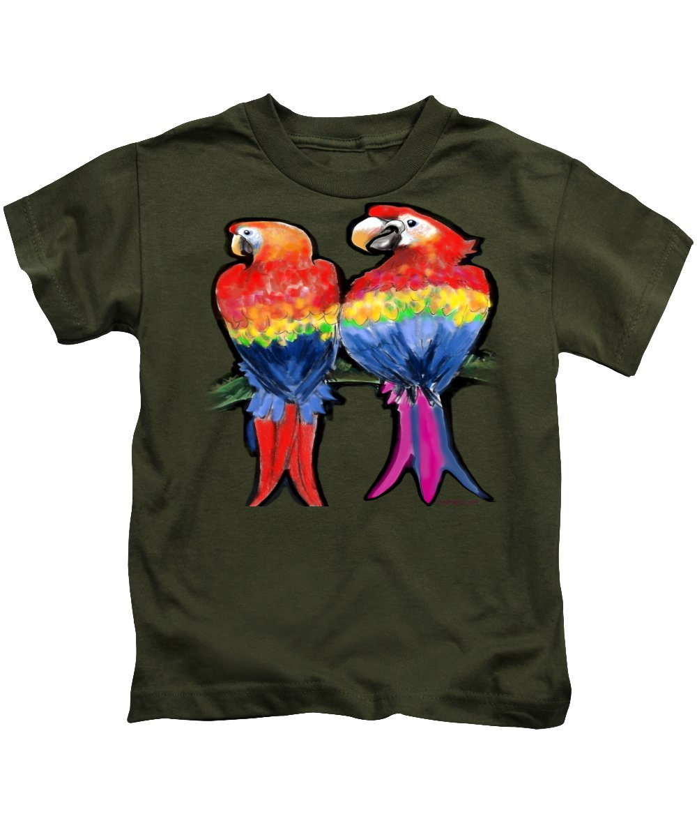 Parrot Kids T-Shirt featuring the painting Parrots by Kevin Middleton
